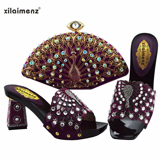 2019 Latest Teal Color African Shoes With Matching Bags For Wedding Italian Summer Style Women Wedding Shoes And Handbag Set