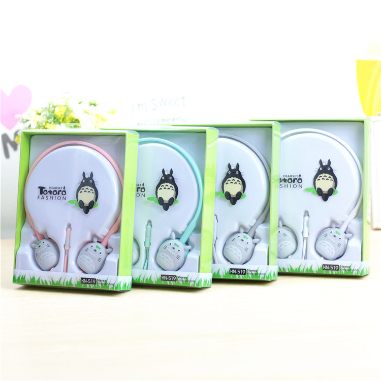 Lovely Cute Candy Colour 3.5mm Stereo Headphone My Neighbor Totoro Headset Kawaii Earphone Earbuds For Phone MP3 MP4