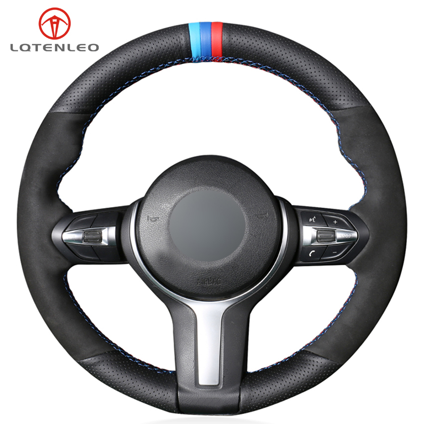 LQTENLEO Black Genuine Leather Suede Car Steering Wheel Cover for BMW F87 M2 F80 M3 F82