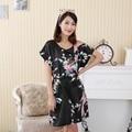 Сексуальный Черный Китайских Женщин Плюс Размер Халат Искусственного Шелка Мини Ночная Рубашка Ночную Рубашку С Коротким Рукавом Пижамы Цветок Ночной Рубашке NR010