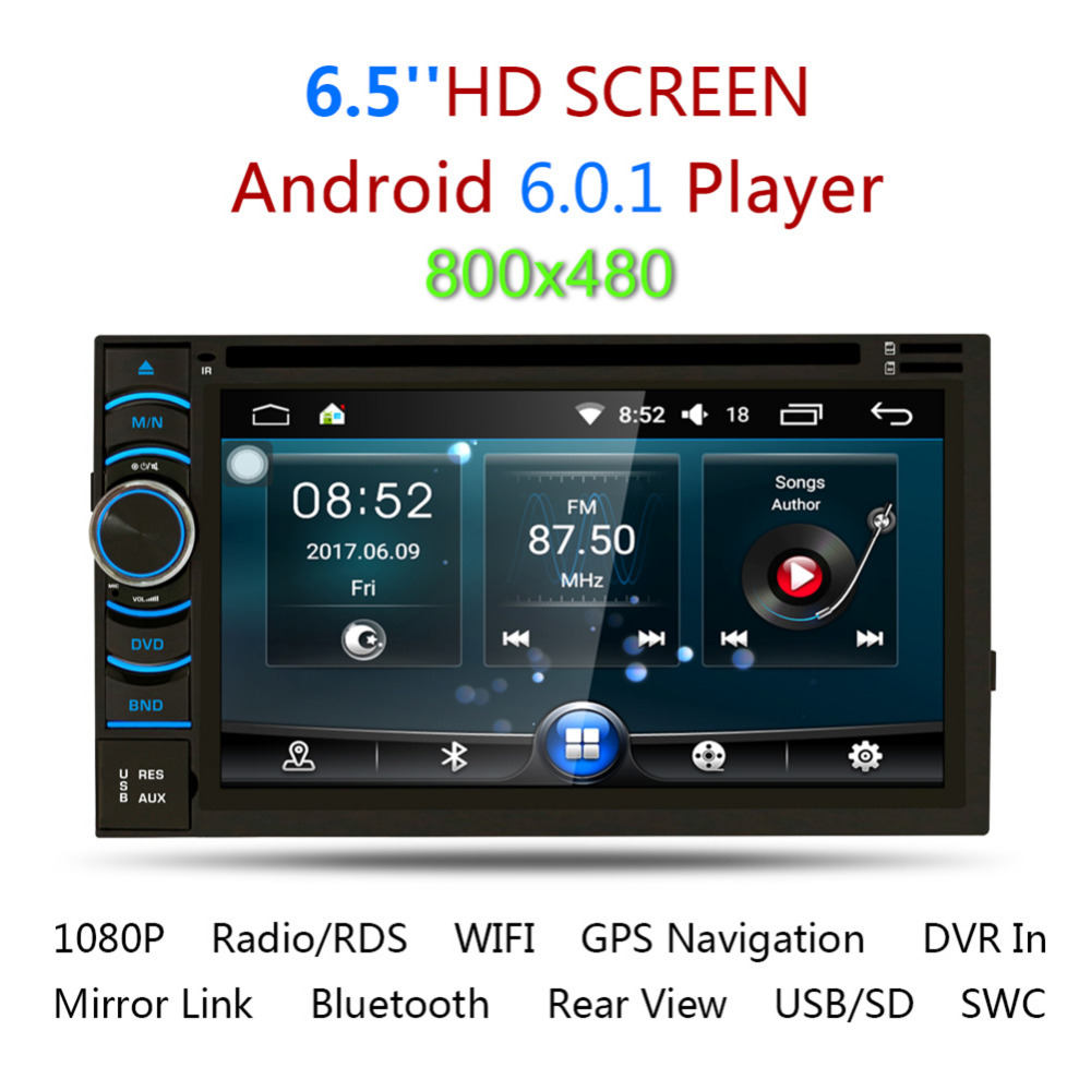 2Din 6 5 HD Android 5 1 Capacitive Touch Screen Quad Core Car DVD Player GPS