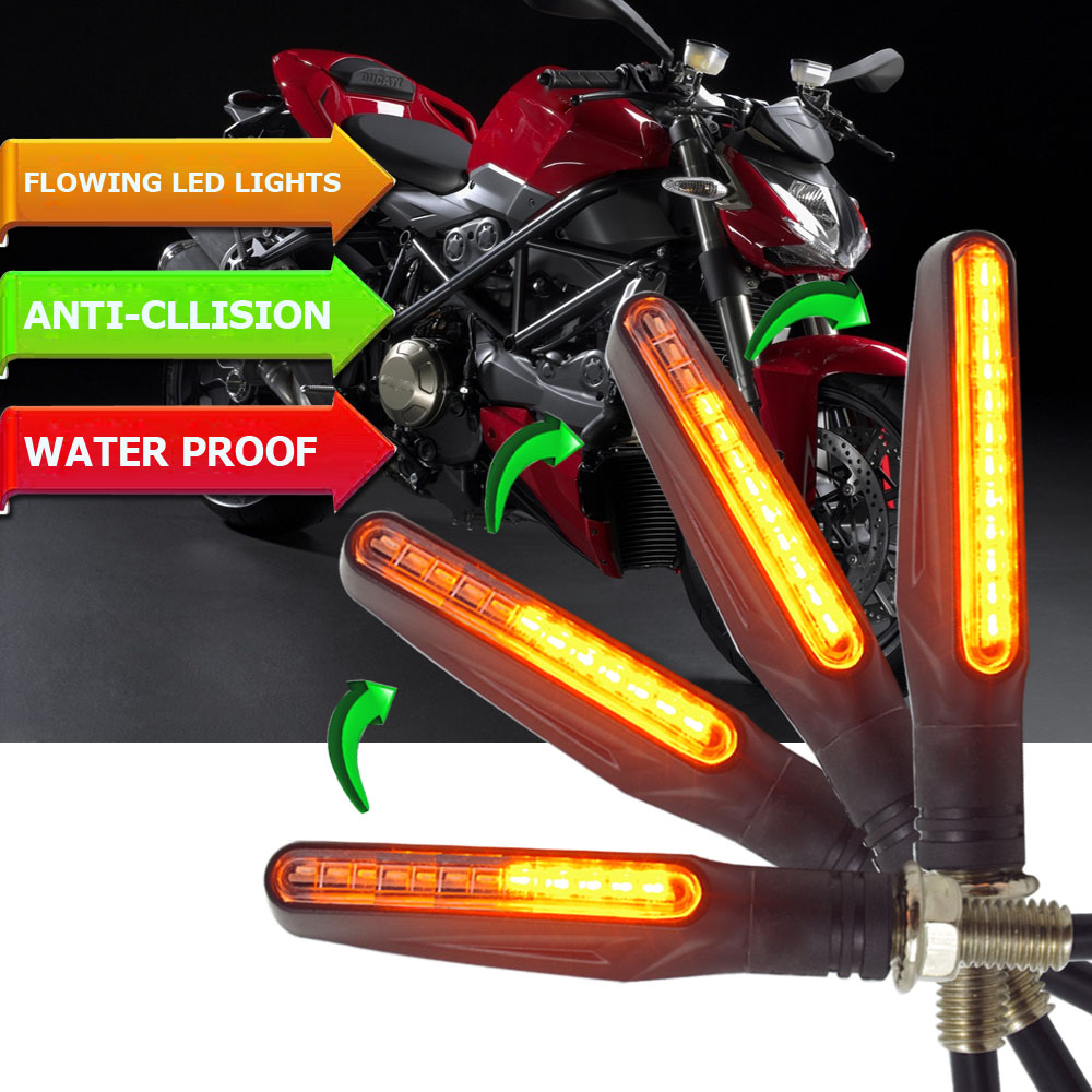 Motorcycle Turn Signal Light Flexible 12 LED Turn Signals Indicators Blinkers FOR Honda Hornet Cb600f Bajaj Suzuki Gsr 750 Mt 03