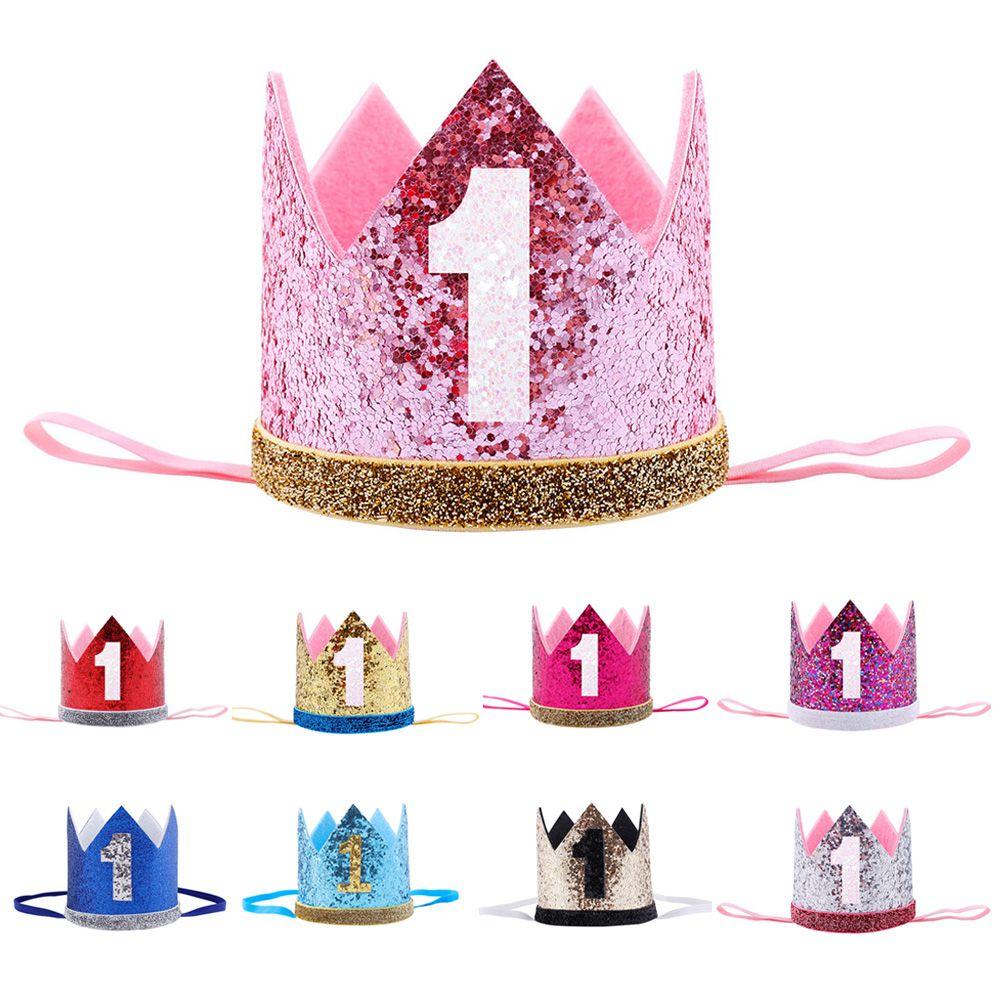 Happy Birthday 1 Years Old Children's headband Crown Hair band Princess Hat Crown Headwear Ornament Birthday Party Gift