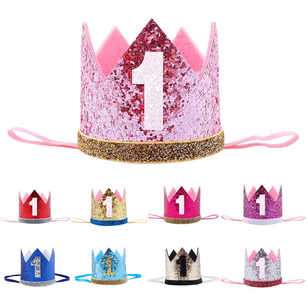 Happy Birthday 1 Years Old Children's headband Crown Hair band Princess Hat Crown   Headwear   Ornament Birthday Party Gift