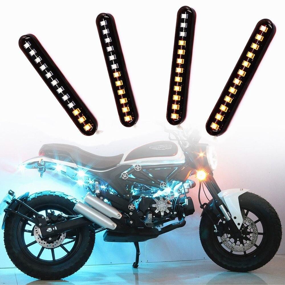 2x Séquentielle Qui Coule Moto LED Mini Bandes Led Signal Lumineux de Tour Indicateur Flexible Pliable Amber light lamp
