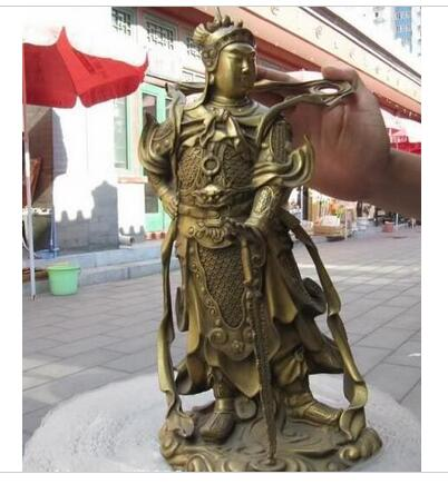 Collectable 17 Chinese Brass Copper refined Carved Wei Tuo God warrior Statue decoration bronze factory outlets
