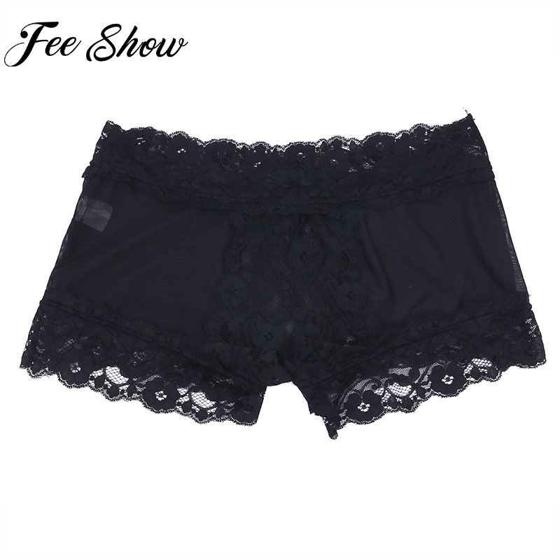 New Feeshow Black Sexy Adult Men Male Soft Sheer Lingerie Mesh Lace Briefs Open Butt Shorts Underwear Sissy Male Underpants