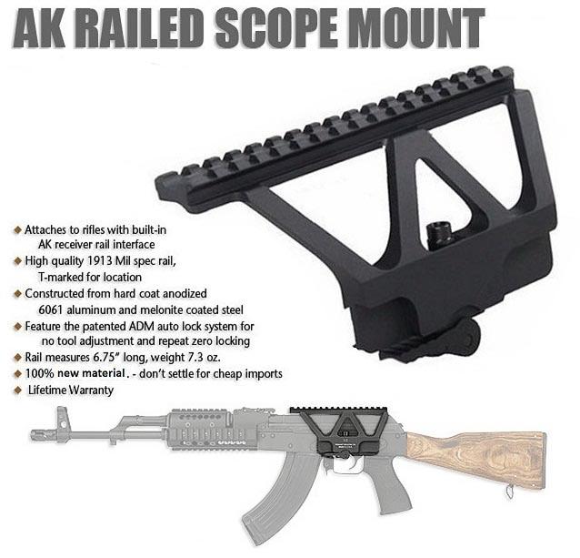 New Quick Detach AK Gun Rail Scope Mount Base Picatinny Side Rail Mounting For AK 47 AK 74 Free Shipping lacywear серьги ak 181 vie