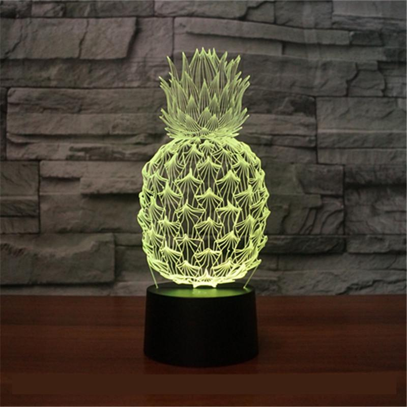 New Pineapple 3d Lamp Colorful Touch Charging Led Visual Gift Atmosphere Desk Led Night Light Usb Led Kids Lamp icoco usb charging romantic led hourglass time record atmosphere night light desk lamp birthday gift hot sale drop shipping