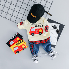 hot deal buy zwxlhh 2019 spring new baby boys girls clothing sets children infant  clothes suits car  shirt + pants  kids toddler costume