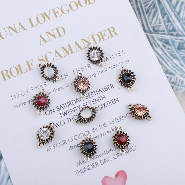 20pcs/lot Fashion Jewelry Sunflower Shape With Rhinestone Double Pendant Charms For DIY Bracelet&Earring Accessories