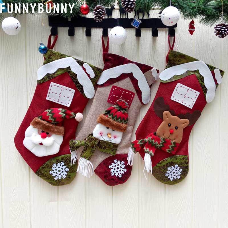 FUNNYBUNNY Christmas Decorations Non-woven stockings pendants Santa Claus snowman elk gift bags