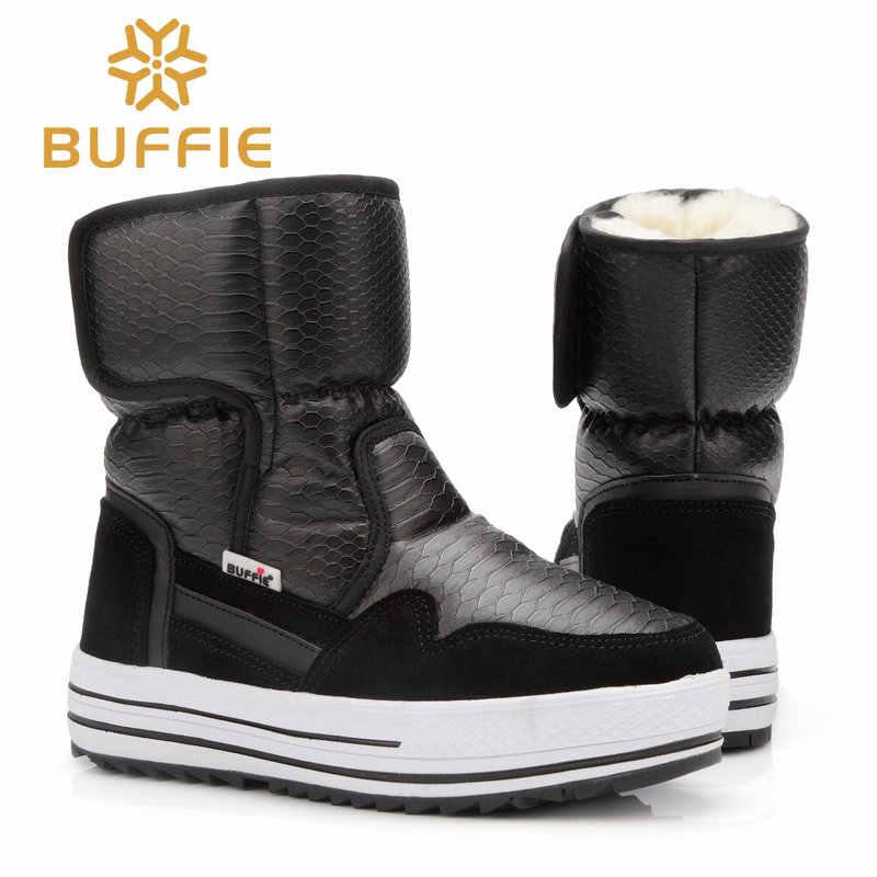 Buffie ฤดูหนาวแฟชั่นรองเท้ารองเท้าเด็กชายหญิงสีดำรองเท้ากันน้ำสไตล์ดูดีหญิงหิมะรองเท้า