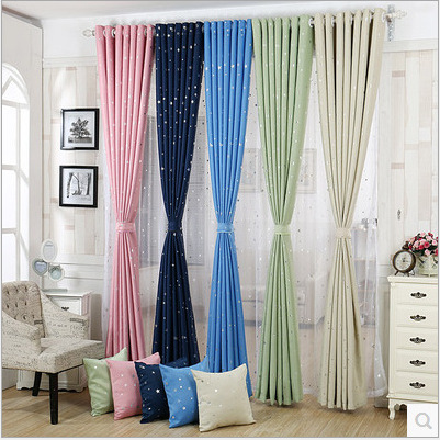 Star Printing Window Curtain Fabrics Navy Blue Green Pink Yellow 5 Colors For Choice Room In Curtains From Home Garden On