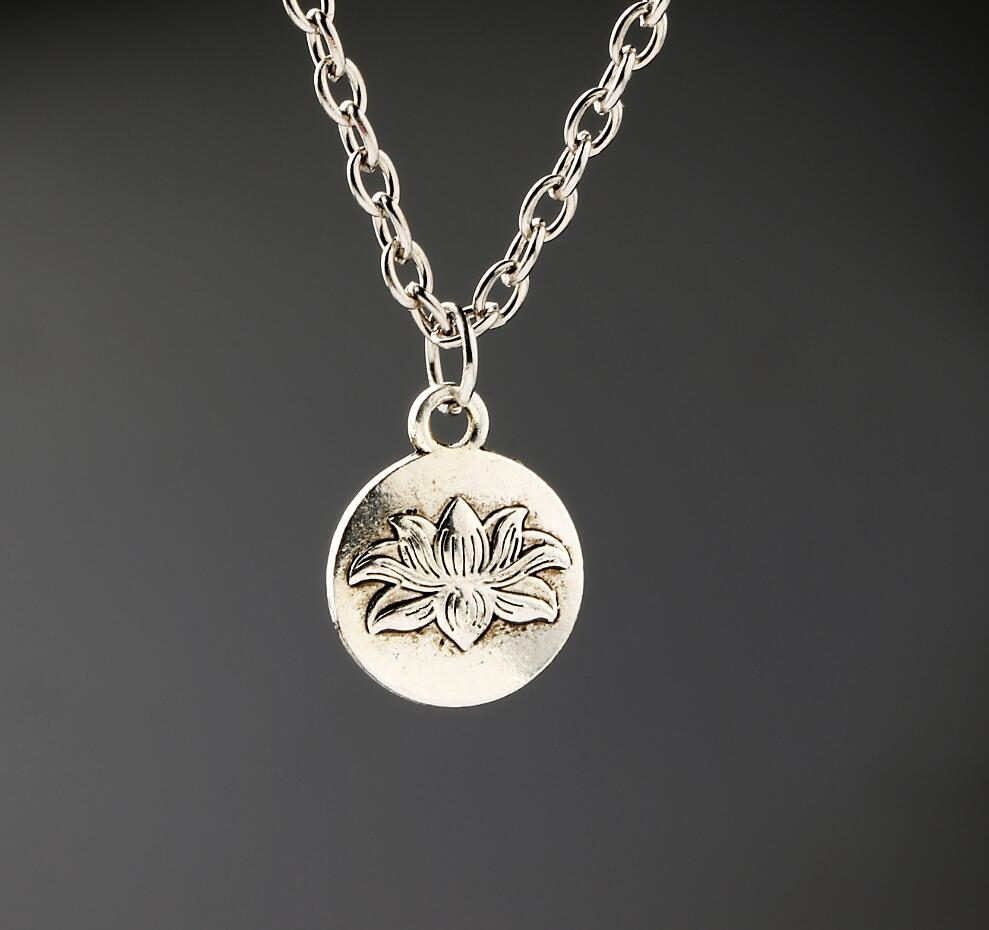 Aliexpress buy buddhism necklaces vintage alloy jewelry aliexpress buy buddhism necklaces vintage alloy jewelry antique silver lotus flower pendant necklace charms women girl gift new 1pcs from reliable izmirmasajfo