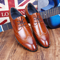 Pointed Toe Men Brogue Breathable British Leather Shoes Men Brown Black
