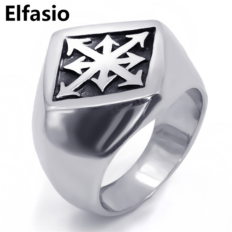 Mens Boys Stainless Steel Ring Gothic Magic 8 Pointed Chaos Star Cross Fashion Jewelry Size 8-12