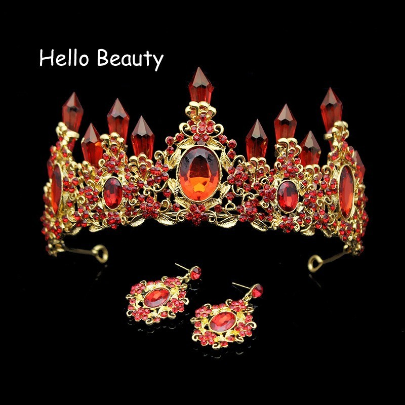 Large Baroque Red Crystal Wedding Princess Crown Luxury Rhinestone Bride Tiaras Bridal Prom Hair Jewelry Bridesmaid Accessories mi happiness red bride wedding hair tiaras gorgeous hair jewelry hanfu costume hair accessory