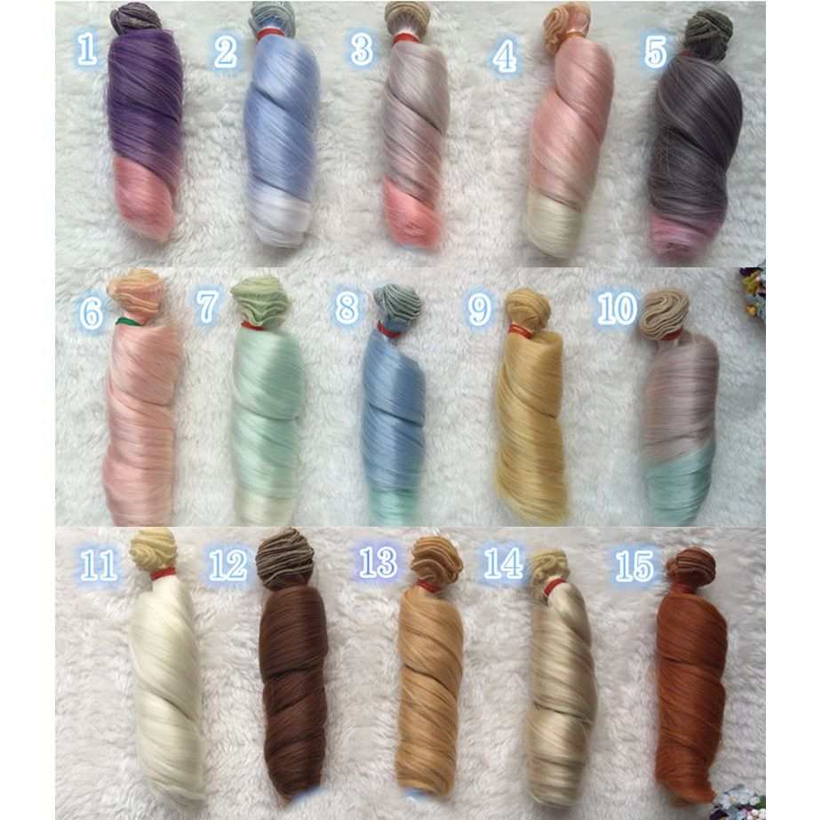 Fashion 15cm DIY Mini Tresses Doll High-Temperature Material Straight Hair Wig For BJD Synthetic Doll Accessories(China)