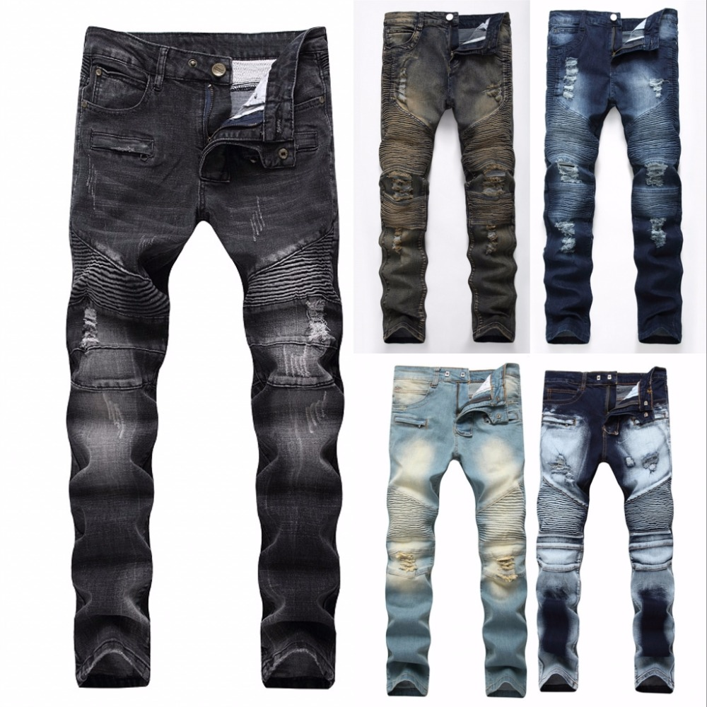 Retro Jeans Destroyed Hip-Hop-Patch Torn Hole Ripped Slim Loose Denim Man Fashion Rap