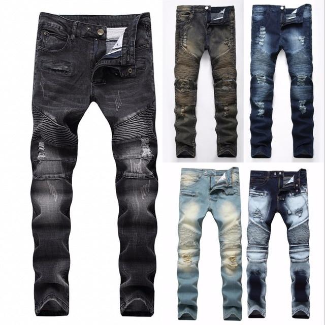 2018 ראפ היפ הופ אופנה גברים תיקון הברך ג 'ינס רטרו חור מכווץ Biker גברים Loose Slim נהרס ג' ינס קרועים Ripped ג 'ינס גבר ג' ינס