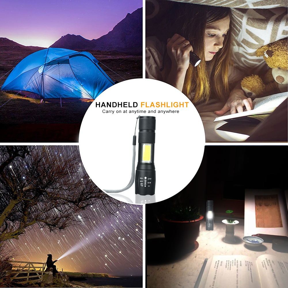 Купить с кэшбэком A100 USB Rechargeable Built-in 18650 LED Flashlight 8000Lum 4Modes LED COB+T6 L2 LED Torch Zoom Led Flashlights Lamp 2018 Newest