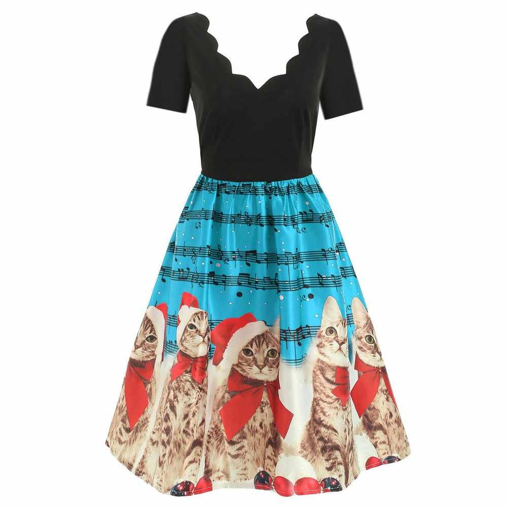 JAYCOSIN Women Short Sleeve Christmas Cat Musical Notes Print Vintage Flare Dress Empire Knee-Length Polyester Sexy Dress May 20