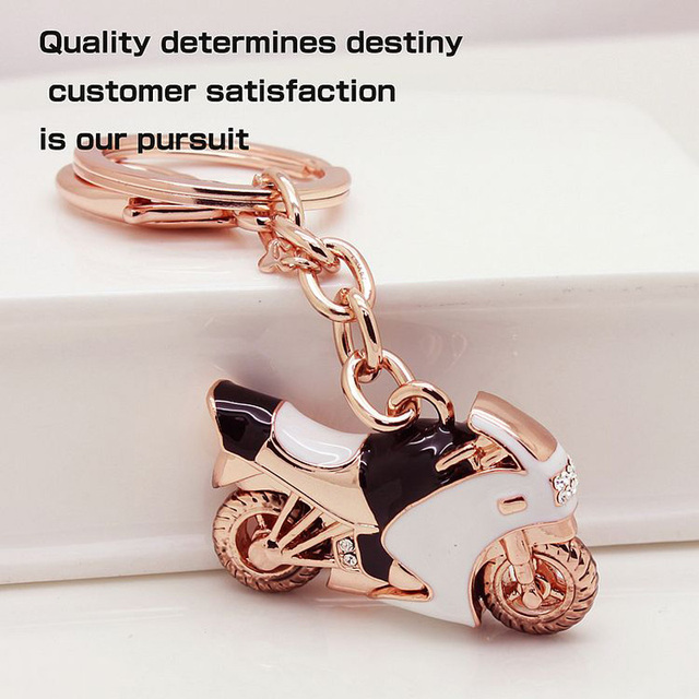 c1c6bec8788e Rhinestone Black Motorcycle Key Chains Rose Gold Plated Fashion Sports New  Design Top Brand Jewelry Accessories