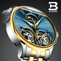 스위스 binger 2019 새로운 기계식 시계 럭셔리 브랜드 해골 더블 뚜르 비옹 시계 사파이어 방수 시계 남자 시계