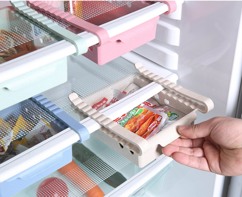 Image 2 - Kitchen Organizer Adjustable Refrigerator Storage Rack Fridge Freezer Shelf Holder Pull out Drawer Organiser Space Saver-in Storage Drawers from Home & Garden