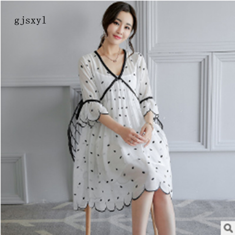 gjsxyl Maternity 2017 summer new dot simple two-piece pregnant women dress fashion loose tide pregnant women skirt
