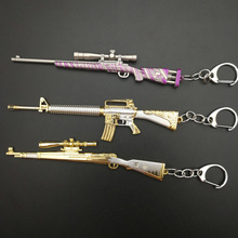 Game PUBG Keychain AWM 98K Pan ALL Rifle Model Playerunknown's Battlegrounds Cosplay Props Alloy Armor Key Chain llaveros Key стоимость