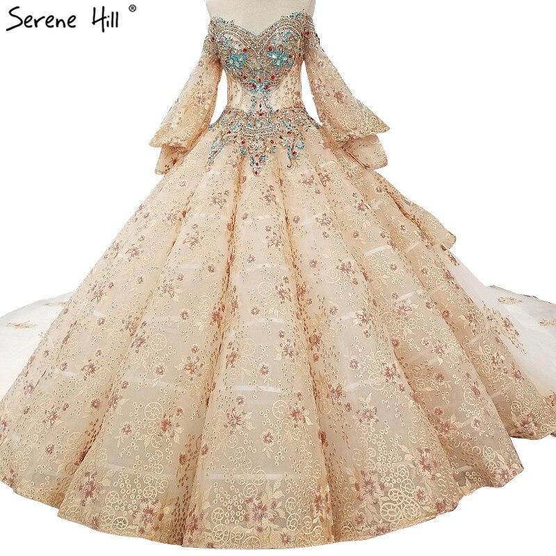 Newest Colored Diamond Pearls Sexy Wedding Dresses 2019
