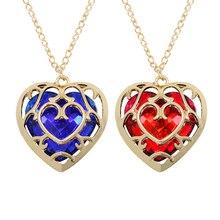Ожерелье в форме сердца, голубое, красное, цвета The Zelda Legend, Персиковое сердце, ожерелье с золотой оправой,, серия фильмов
