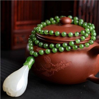 Chinese Handcarved 100% Natural Nephrite White Jade Magnolia Flower Pendant Necklace