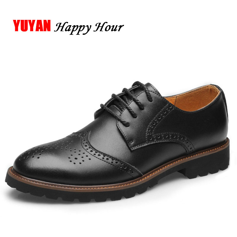 Fashion Brand Oxfords Shoes Men Genuine Leather Shoes High Quality Men's Casual Shoes Black Brown ZHK237