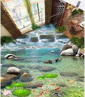 Wallpaper floor mural waterfall Bathroom 3d floor murals Custom Photo self adhesive 3D floor Home Decoration