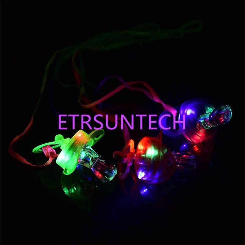 500 teile/los Led Schnuller Pfeife Licht Halsketten Nippel Flashing Kinder Spielzeug Für Weihnachten Bar Partei Liefert