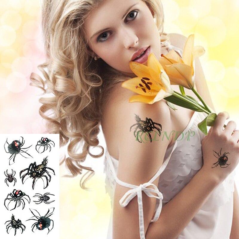 Waterproof Temporary Tattoo Sticker Spider Halloween Fake Tatto Flash Tatoo Tatouage Wrist Foot Hand For Girl Women Men