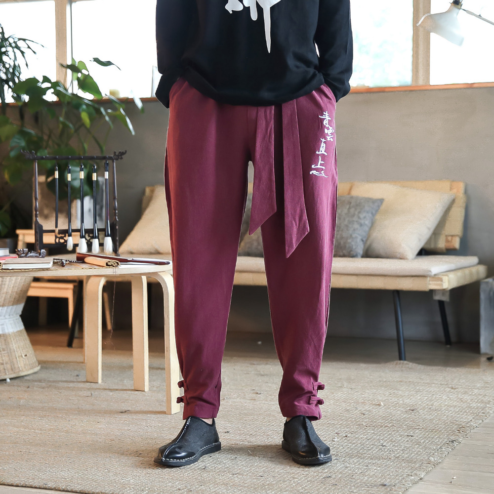 High Quality Linen Men Pant Brand New Loose Plus Size Chinese Style Trousers Men Pan Kou Cuff Harem Pant Man Clothing 2018 Sale