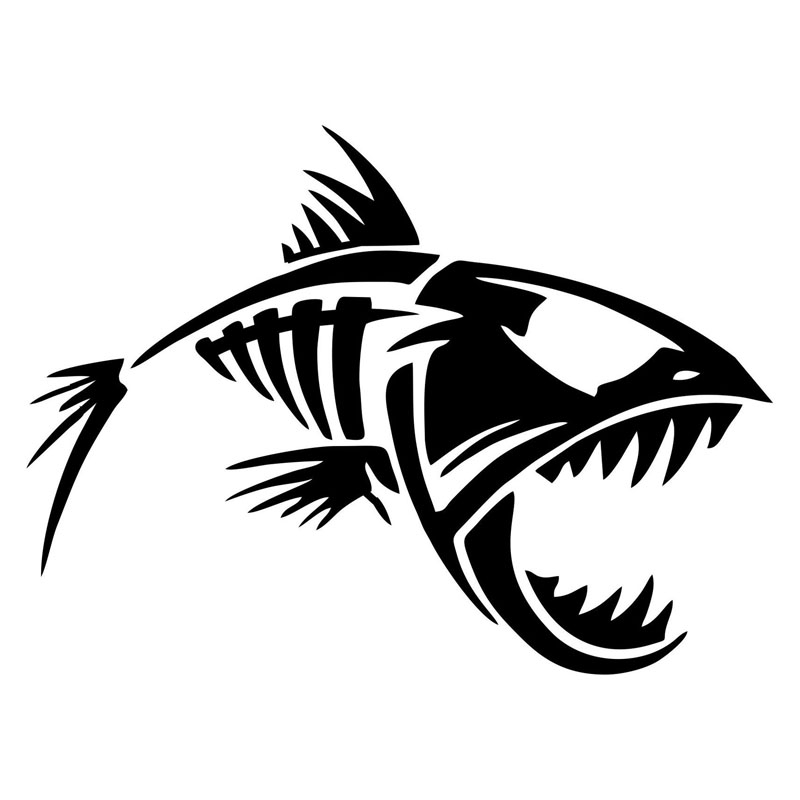 12.7*9.4CM Skeleton Fish Funny Car Styling Window Glass Decorative Accessories Car Stickers Decals C6-0629