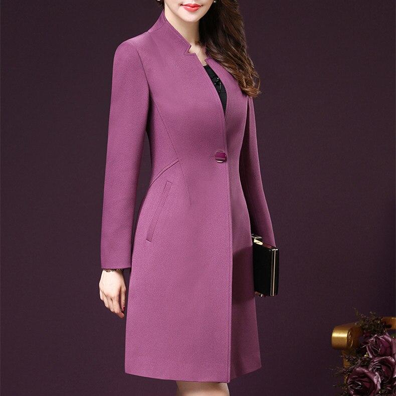2017 женщина clothing сплошной цвет с длинными рукавами леди длинные бурелом талия похудения женщины карманы тренчи плюс размер 3xl 4xl