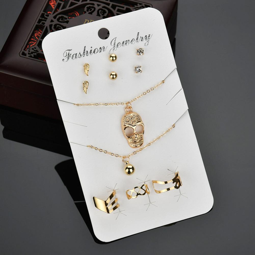 Womens Fashion Skull Necklace Ear Studs Ring Bangle Bracelet Jewelry Set Gift