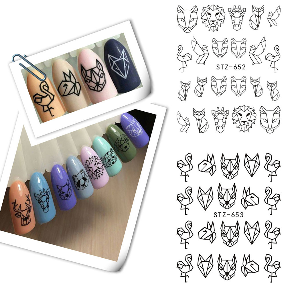 New Arrival  Cartoon Animal Line Drawing Nail Stickers DIY Fake Full Nail Tip Decals Beauty Art Tools line art