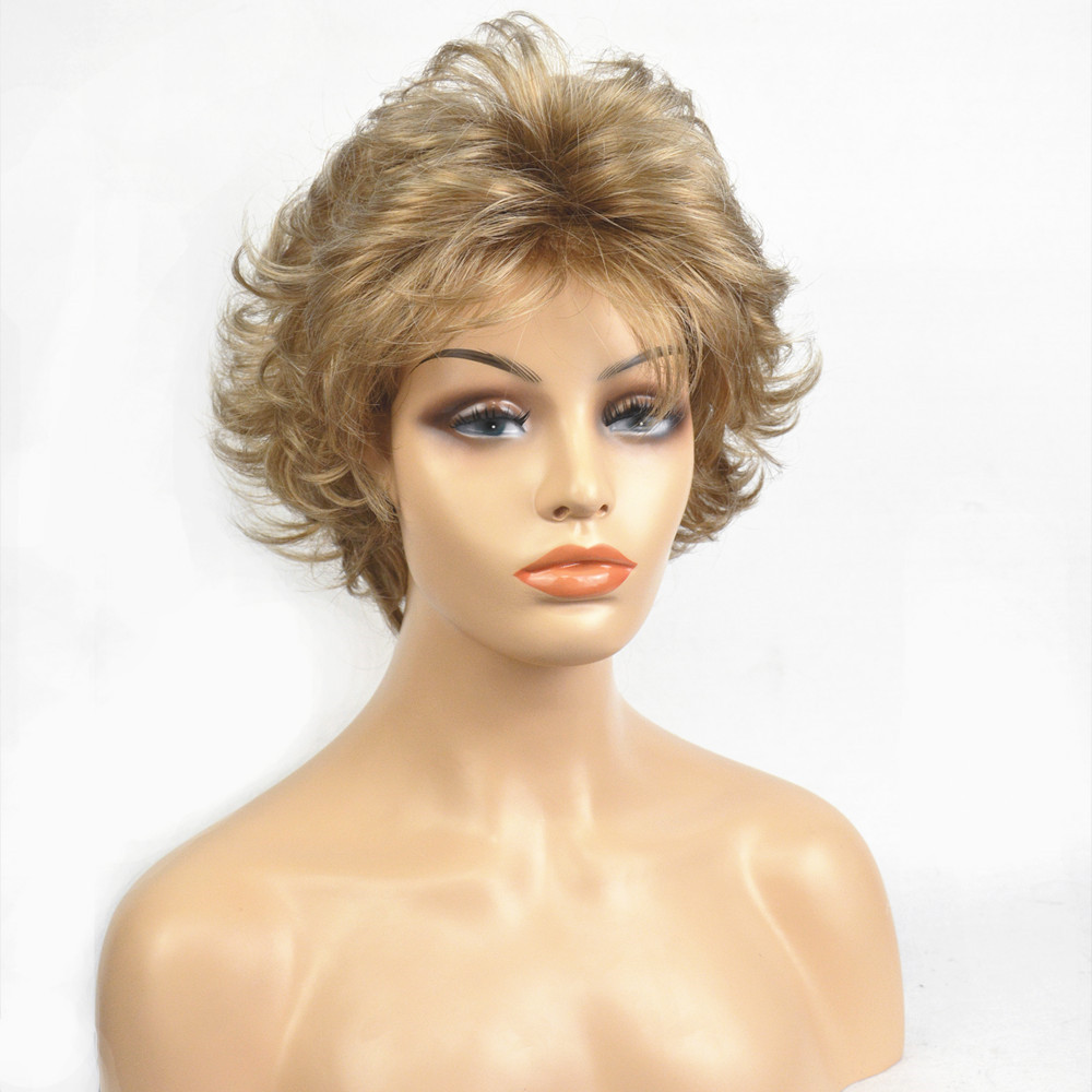 StrongBeauty Women's Synthetic Wigs golden Short Curly Hair Capless Natural Wigs