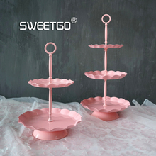 Wave edge cupcake stand 2 tiers cake tray high quality wedding cake display decoration plate for bakeware kitchen dining & bar