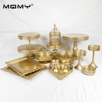 14pcs/ Set Small Birdcage Gold 2 Tier Cupcake Decorating with Crystal Wedding Cake Stand