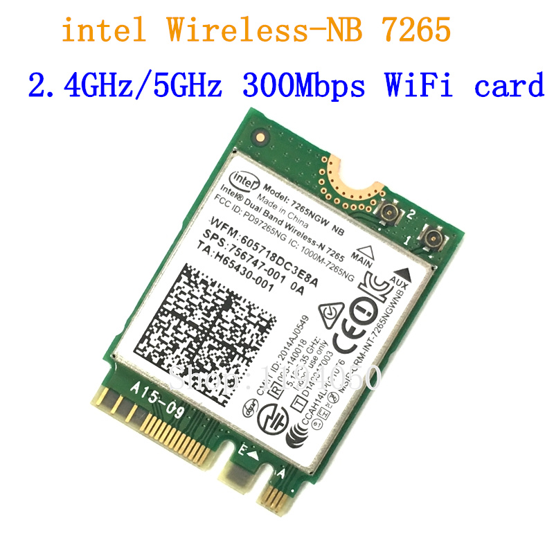 New For Intel Dual band Wireless-N 7265 7265NGW 802 11N 2 x 2 WiFi 300Mbps NGFF M 2 card 7265NB 2 4G   5G