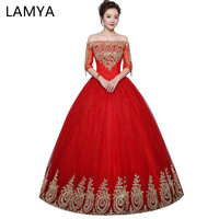 LAMYA Vintage Boat Neck Red Wedding Dresses Gold Lace Elegant Plus Size  Applique Bridal Gown Robe 94416a89b682