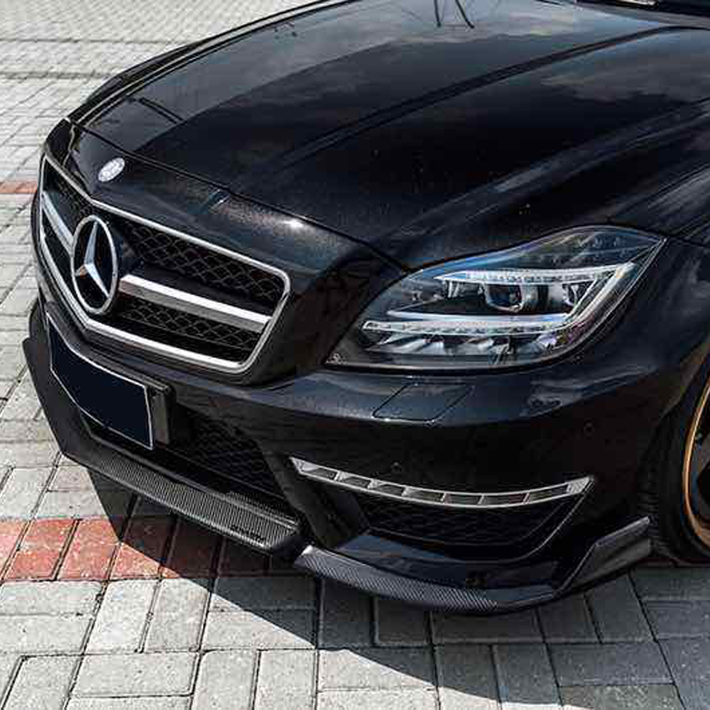 W218 AMG Renntech Style Carbon Fiber Front Body Kit Bumper lip With Splitter for Mearcedes Benz W218 CLS350 CLS63 AMG 2012-2015 for mercedes benz cla class w117 cla180 cla200 cla250 cla45 amg carbon fiber front lip splitter flap canard fits sporty car amg